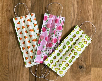 Clearance Sale Set of Three Cloth Face Masks, Fruit Design, Three Layer Cotton Adult Face Mask, Washable, Reusable, In Stock FREE SHIPPING