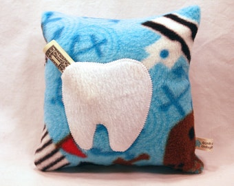 Clearance Sale - Tooth Fairy Pillow, Children's Pillow,  Pirate Theme - 8 x 8 - Toddler - IN STOCK and Ready to Ship