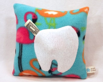 Clearance Sale - Tooth Fairy Pillow, Children's Pillow, Flamingo Motif- 8 x 8 - Toddler - IN STOCK and Ready to Ship
