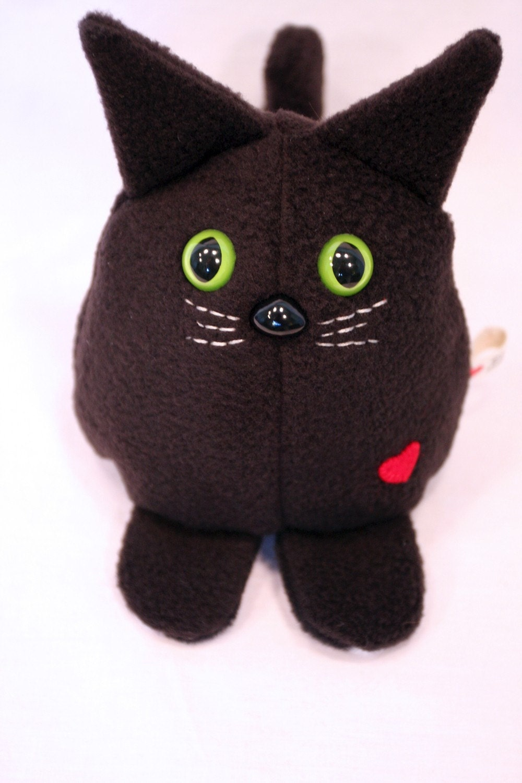 black cat whee one stuffed animal stuffed toy plushie etsy. Black Bedroom Furniture Sets. Home Design Ideas