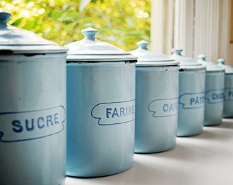 vintage French enamelware, set of 6 light blue canisters
