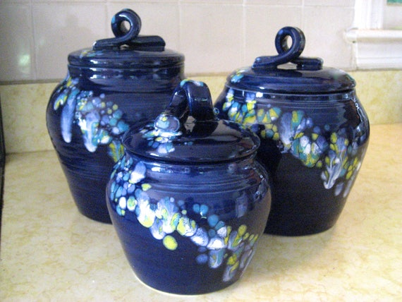 Kitchen Canisters Navy With Yellow White Turquoise Crystals Etsy