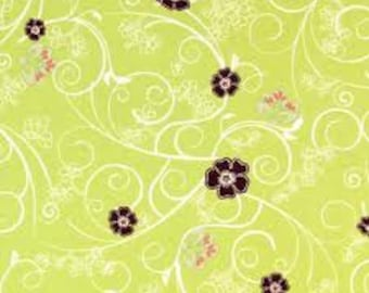 1/2 yd. filigree - flowery trellis, lime (art gallery)