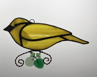 Yellow Warbler Stained Glass Sun Catcher
