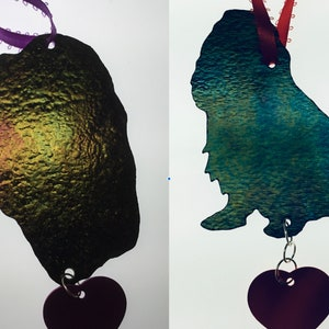 Cavalier King Charles Spainel Silhouette Stained Glass Ornament Head  Full Body Dog Memorial Original and Exclusive Design Handmade