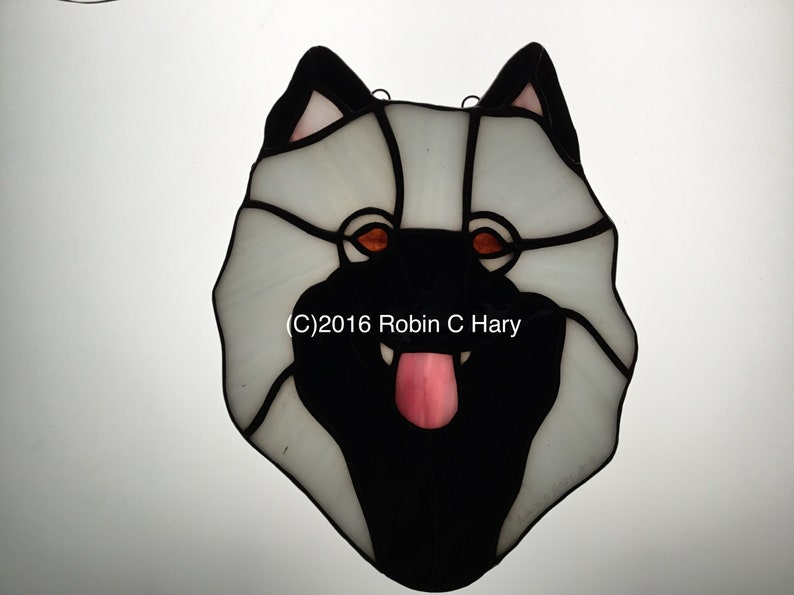 Keeshond Stained Glass Suncatcher Dog Memorial Original and Exclusive Design Handmade Glass Dog