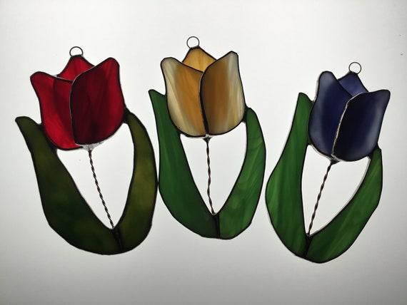 Tulips Jonquil Stained Glass Suncatcher