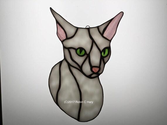 Cornish Rex Cat Suncatcher In Stained Glass Etsy