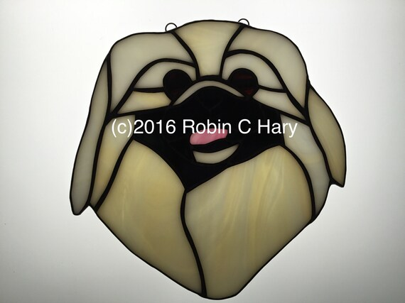 Pumi Stained Glass Suncatcher Dog Memorial Original and Exclusive Design Handmade Glass Dog