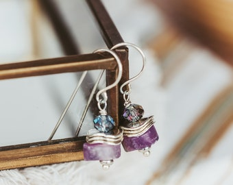 Chunky Amethyst Gemstone Dangle Earrings, Purple Stone Sterling Silver Jewelry, February Birthstone