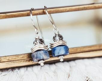 Chunky Sodalite Gemstone Dangle Earrings, Blue Stone Sterling Silver Jewelry