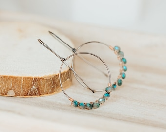 Crystal Wire Wrapped Hoop Earrings - As Seen On TV - Lifetime Holiday Movies - The Christmas Edition