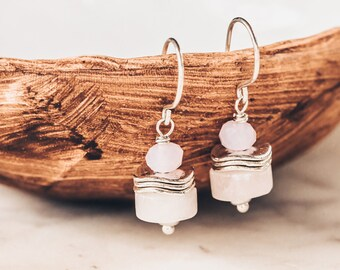 Chunky Rose Quartz Gemstone Dangle Earrings, Light Pink Stone Sterling Silver Jewelry