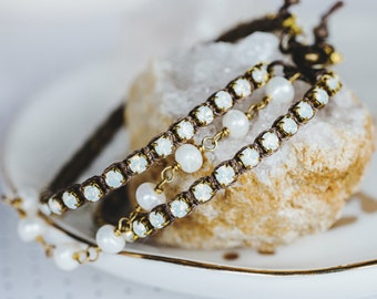 Rhinestone Pearl Triple Strand Bracelet, Anniversary Gift for Her,