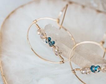 Gold Hoop Earrings, Crystal Hoops,  Gifts, Daughter Gift from Mom,