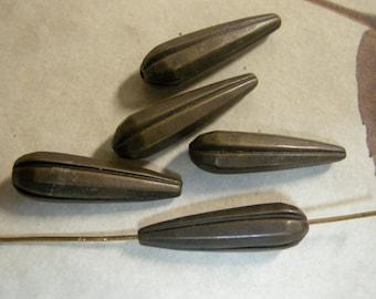 Brass Oxidized Thin Ribbed Tears (5)