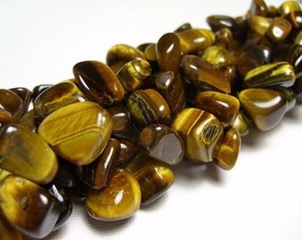 Tigereye Pebbles, Top Drilled, 15 inch Strand