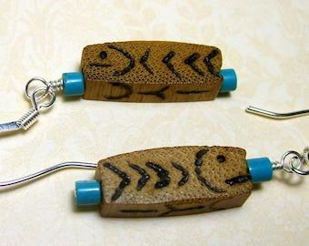 Stylized Wood Burned Fish Earrings