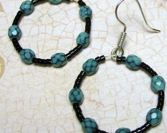 Aqua and Black Hoop Earrings