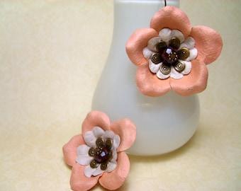 Just Peachy Flower Earrings