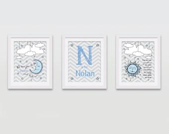 Personalized Baby Nursery Wall Art, Custom Baby Boy Room, Nursery Decor, Baby Keepsake Gift 8x10 (Set of 3) PRINTED