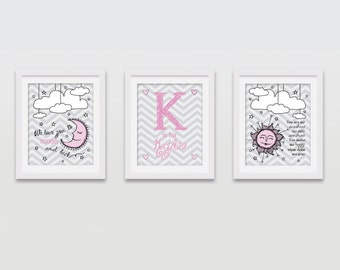 Personalized Baby Nursery Wall Art, Custom Baby Girl Room, Nursery Decor, Baby Keepsake Gift 8x10 (Set of 3) PRINTED