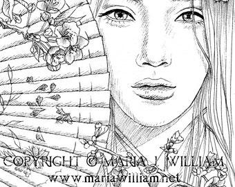 Sakura Dream - coloring page