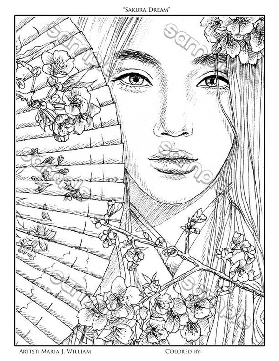 Asian Girl With Fan Cherry Blossoms Coloring Page By Maria J William Instant Pdf Download