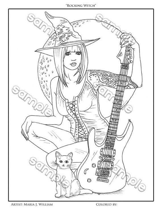 Witch With Guitar Cat Halloween Coloring Page By Maria J William Instant Pdf Download