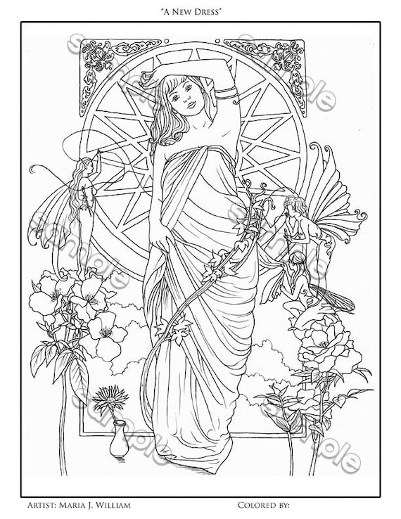 Art Nouveau Fairy Fantasy Coloring Page By Maria J. William Etsy