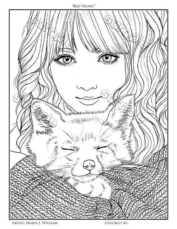 Cute Girl Fox Coloring Page By Maria J William Instant Pdf Etsy