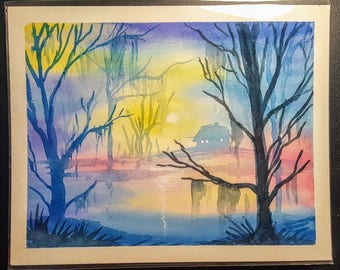 Haunted Forest - original watercolor painting