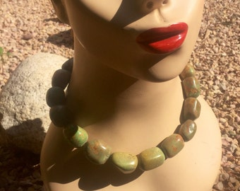 Large, Graduated Green Turquoise Necklace