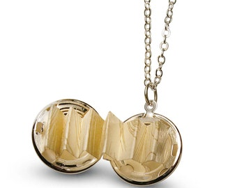 Silver Ball Locket with Love Letter - Secret Message  - Can Also Hold Photos - Hidden Message -Satellite Chain Included