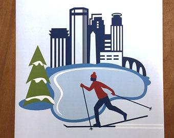 """Minneapolis Skier, 18x 24"""" poster"""