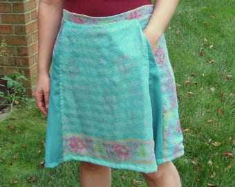 Floral Turquoise Midi Skirt with Pockets