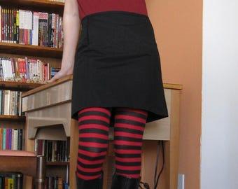 Short Denim Skirt with Pockets - Black - Small