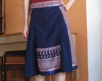 Navy Blue Midi Skirt with Pockets