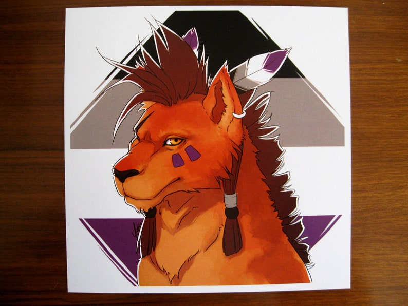6x6 Asexual Nanaki/Red XIII FF7 Queer Pride Print image 0