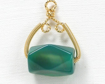 IB290g Green translucent gemstone. SALE 1 Jade Pendant with gold wire wrapped bail