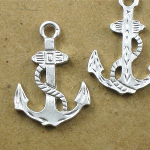 44mm x 33mm . SALE Large solid boat ANCHOR jewelry pendant FF31 Matte Silver Plated Brass