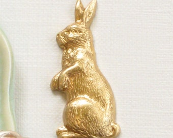 6 standing RABBIT brass jewelry embellishments . 24mm x 10.5mm (FF3b).
