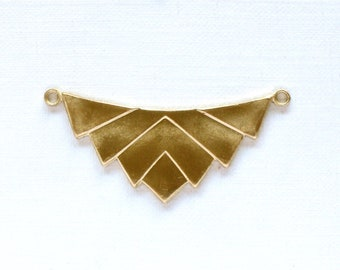 2 CHEVRON geometric jewelry pendant in GOLD color. 16mm x 37mm (ST66)