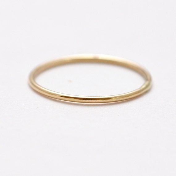 Solid Gold Wedding Band Thin 14k Rings Gifts Under 100 Etsy