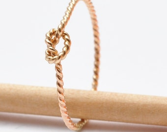 Tie the Knot Ring: Gold Twisted Knot Band, Bridesmaid Jewelry