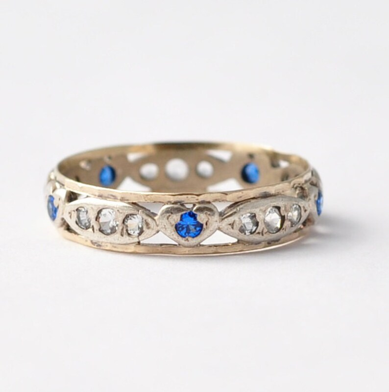 Size 7.75 Diamond Pastes Silver /& 9K Gold Vintage Promise Ring: Heart Shaped Sapphires