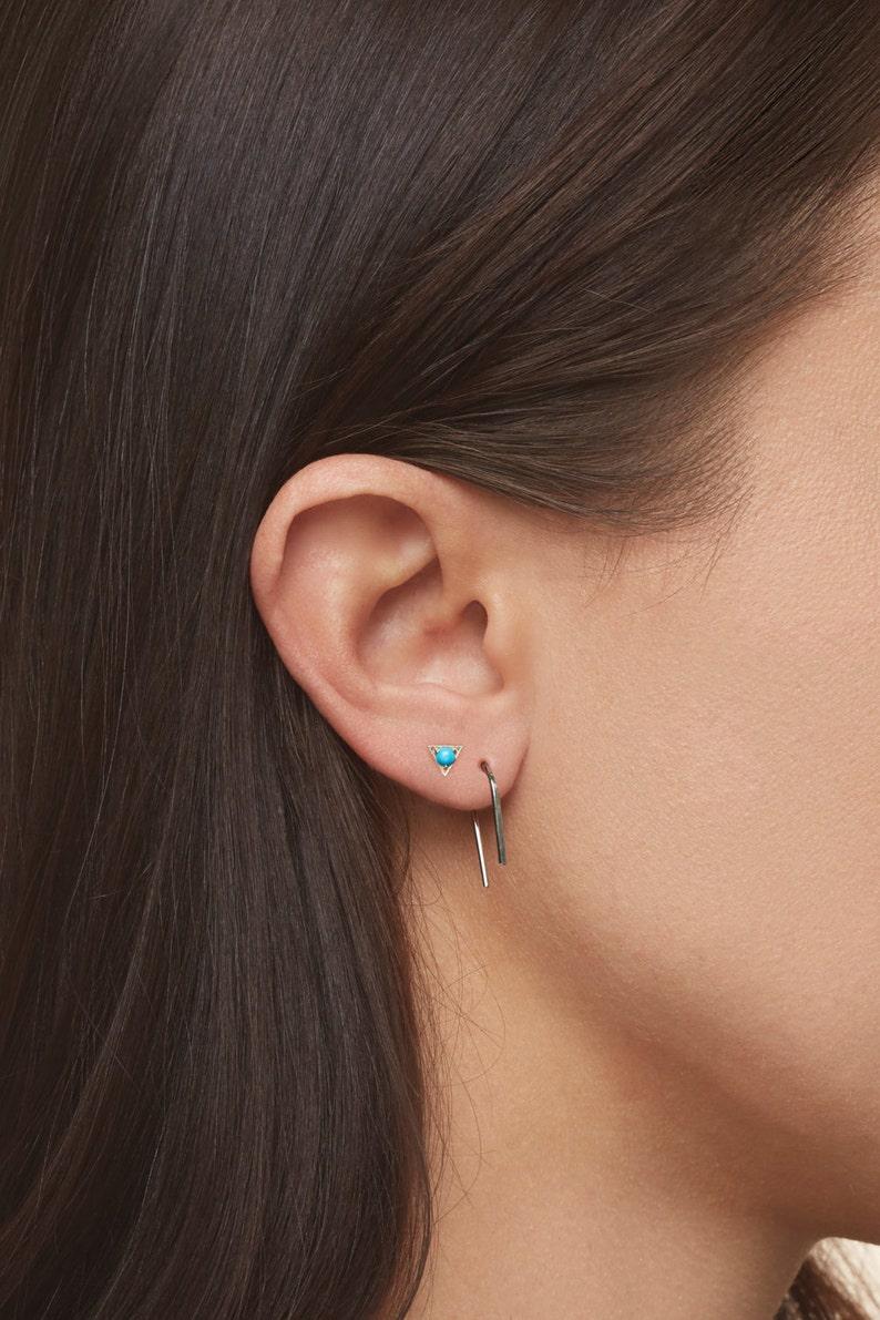 Platinum Earrings U Shaped Hoops