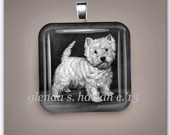 Westie Dog Fine Art Glass Pendant - Free Shipping ***