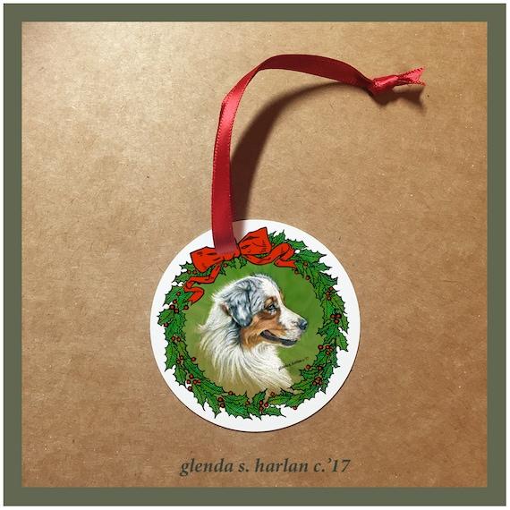 Australian Shepherd Christmas Ornament.Australian Shepherd Dog Christmas Ornaments Free Shipping