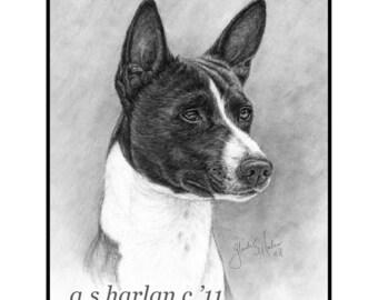 Basenji Dog Fine Art Note Cards - Set of Four - Free Shipping ***